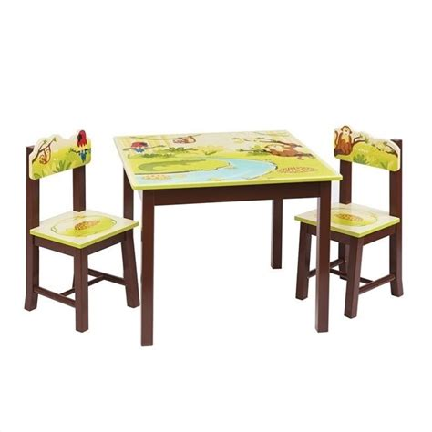 guidecraft jungle table and chairs set g86902