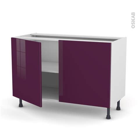 meuble cuisine aubergine meuble de cuisine bas keria aubergine 2 portes l120 x h70