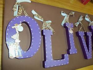 Hand painted wooden letters for nursery decor kids by for Hand painted letters for nursery
