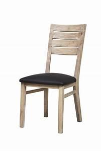 Chaise sejour praha acacia blanchi for Meuble salle À manger avec chaise salle a manger bois et cuir