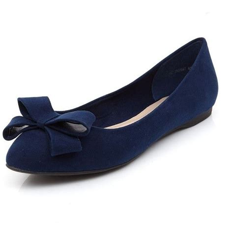 navy suedette bow front pointed ballet pumps