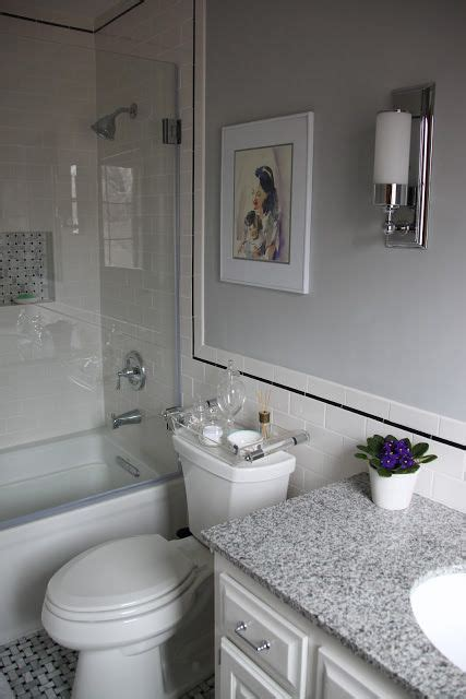 White Bathroom With Color Accents by Bathroom White Subway Tile Black Accent Grey Paint