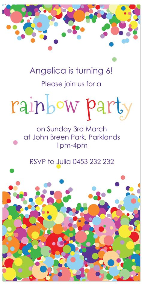 rainbow party invitation Google Search Personalised
