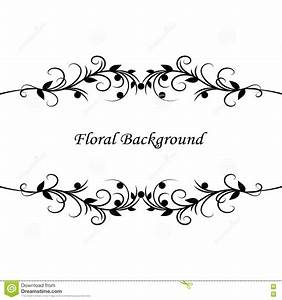 Simple Floral Background In Black And White Vector ...