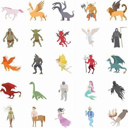 Creatures Mythical Character Fictional Icons Clip Illustrations