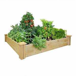 Greenes fence 48 in x 48 in cedar raised garden bed rc for Greenes raised garden bed