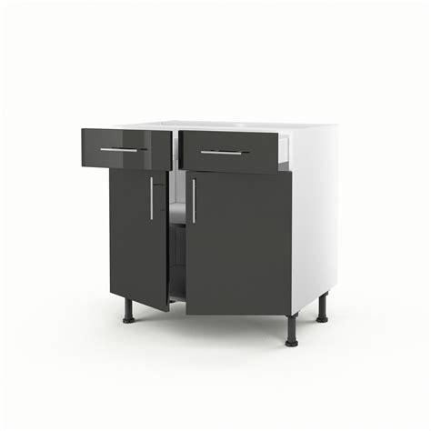 meuble cuisine hauteur 70 cm meuble de cuisine bas gris 2 portes 2 tiroirs h 70 x