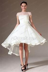 edressit sheer top cap sleeves high low wedding dress With high low wedding dress with sleeves