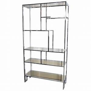 modernist chromed etagere with bronze mirror and smoked With miroir etagere
