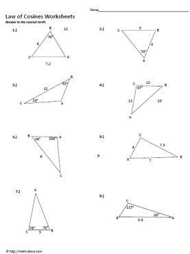 law of sines and cosines worksheet with answers and cosine worksheets law of cosines printables and law