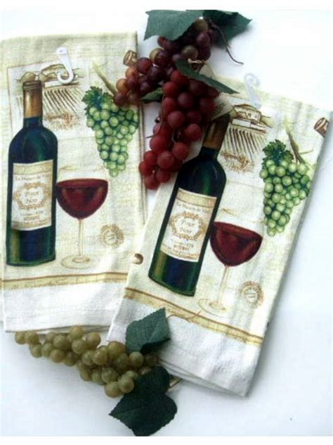 wine  grapes kitchen towels set