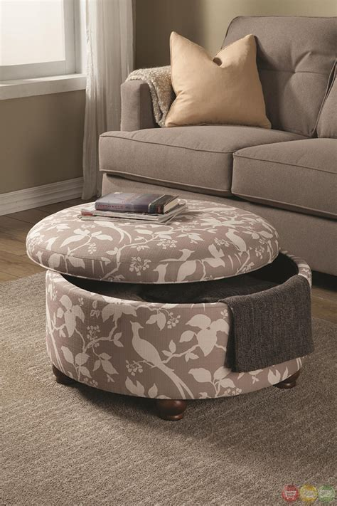 Printed Ottomans by Muted Tone Printed Upholstery Storage Ottoman