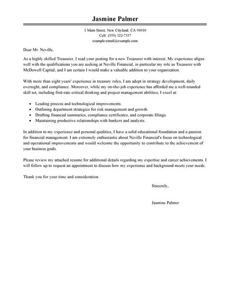 best treasurer cover letter exles livecareer
