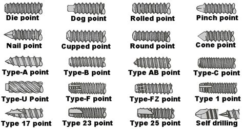 Screw, Nut And Bolt Types