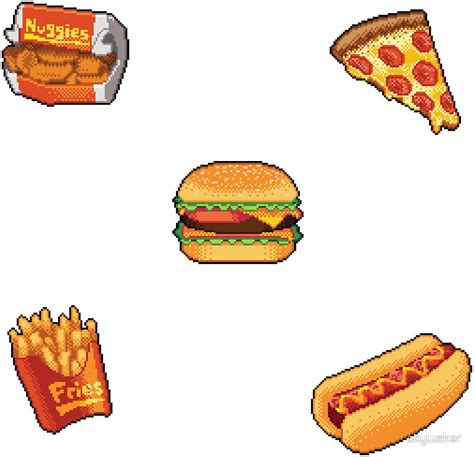 stickers ecriture cuisine quot pixel fast food sticker set quot stickers by skywaker redbubble