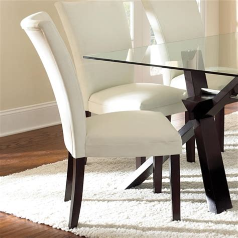 berkley leather parson chair white wood legs set of 2