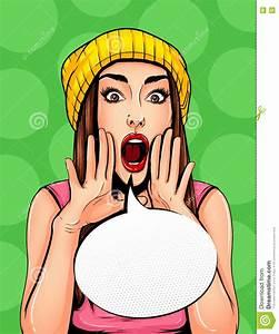 Pop Art Vintage Poster Comic Girl With Speech Bubble ...