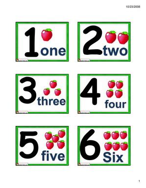 English For Kids,esl Kids Numbers Flashcards 1 To 10
