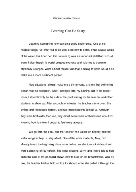 things intro template sle narrative essay