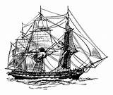Ship Pirate Coloring Frigate Century 17th Galleon sketch template