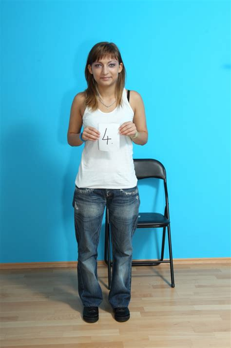 Naked Skinny Brunette At Casting Call Showing Nice Boobs And Bald Pussy