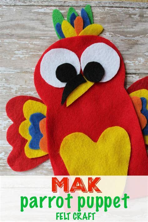 felt parrot puppet craft mak   wild life felt