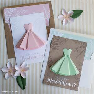 bridesmaid card paper dress will you be my bridesmaid cards lia griffith
