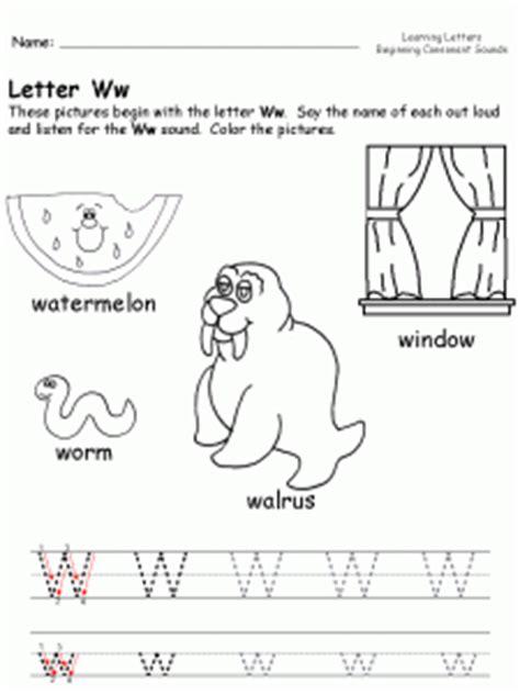 letter w worksheets for kindergarten preschool and 506   kindergarten letter w worksheet 225x300
