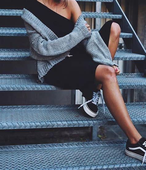 Shoes tumblr sneakers black sneakers low top sneakers vans vans outfits dress black ...