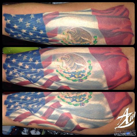 American/Mexican flag on forearm   Mexican tattoo, Mexican ...