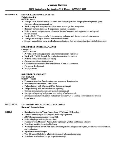 Salesforce Analyst Resume Samples | Velvet Jobs
