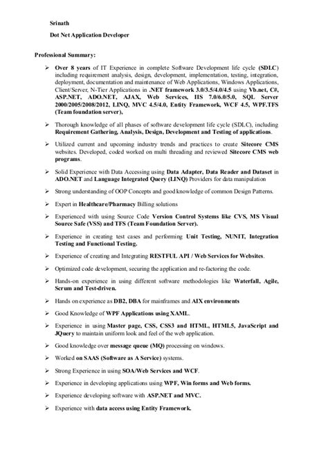 sle resume for dot net developer experience 5 years srinath resume