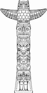Totem Pole Native Drawing American Indian Coloring Poles Tattoo Puzzle Symbols Tattoos Behance Lore Animal Animals Icolor Totems Bear Tiki sketch template