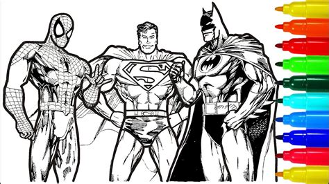 spiderman superman batman coloring pages colouring pages