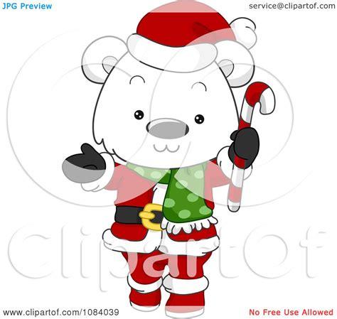 clipart christmas polar bear santa holding  candy cane