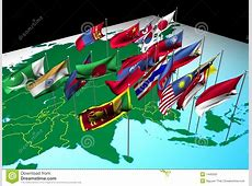 Asia Flags On Map Southwest View Stock Illustration
