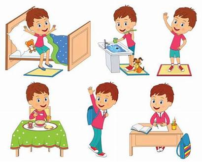 Routine Daily Clipart Morning Table Cleaning Illustration