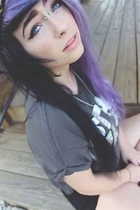 Scene hair purple half black hair | Cool colored hair | Pinterest