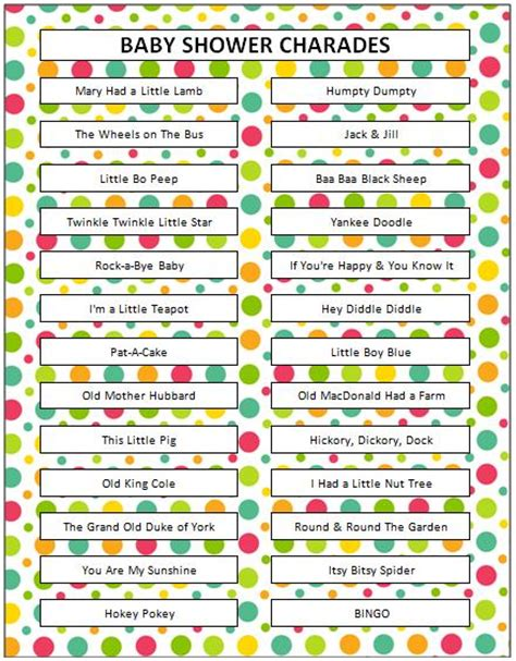 charade cuisine free printable baby shower munchkins