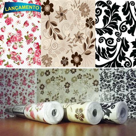 papel adesivo parede contact floral rosas marrom arabesco