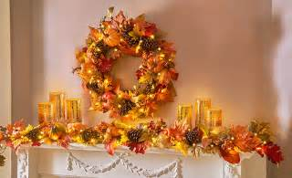 thanksgiving mantel showcase the bold colors and bountiful ornaments of the season