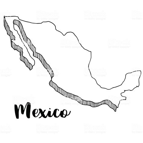 hand drawn  mexico map vector illustration stock