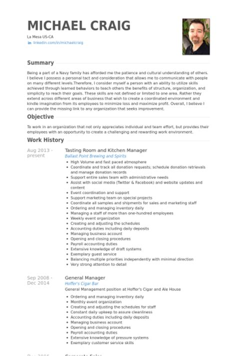kitchen manager resume sles visualcv resume sles