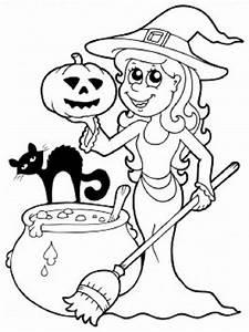 Dessin Citrouille Facile : coloriage la gentille sorci re d 39 halloween ~ Melissatoandfro.com Idées de Décoration