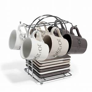 Support Tasse à Café : 6 tasses caf avec soucoupes support en fa ence marrons tourville maisons du monde ~ Teatrodelosmanantiales.com Idées de Décoration