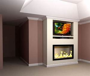 Contemporary built in tv fireplace wall rendering nick