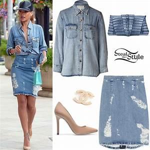 Rihanna Denim Button-Up u0026 Skirt Outfit   Steal Her Style