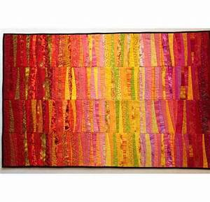 Dawn quilted wall hanging Abstract textile art Modern