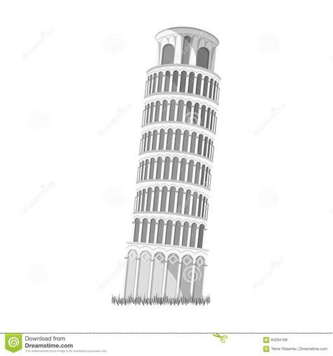 toren van pisa tekening toren van pisa in het pictogram van itali 235 in zwart wit
