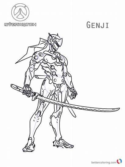 Coloring Overwatch Genji Fortnite Printable Skins Battle